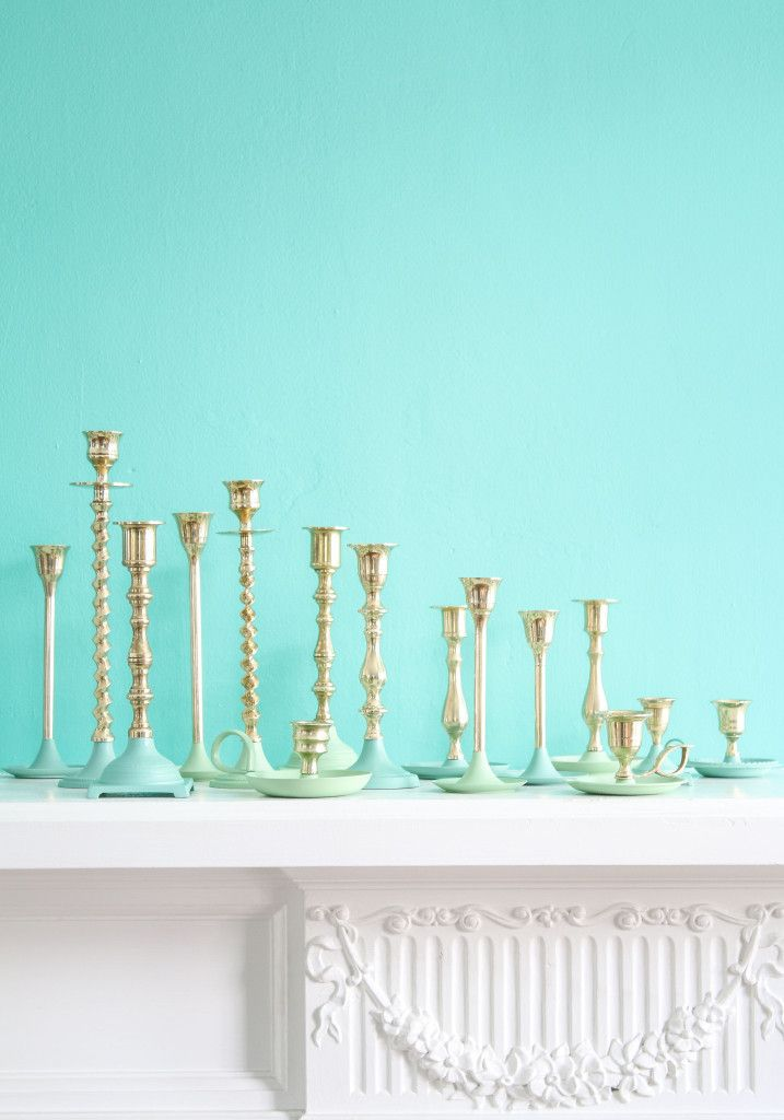 DIY: paint dipped brass candlesticks