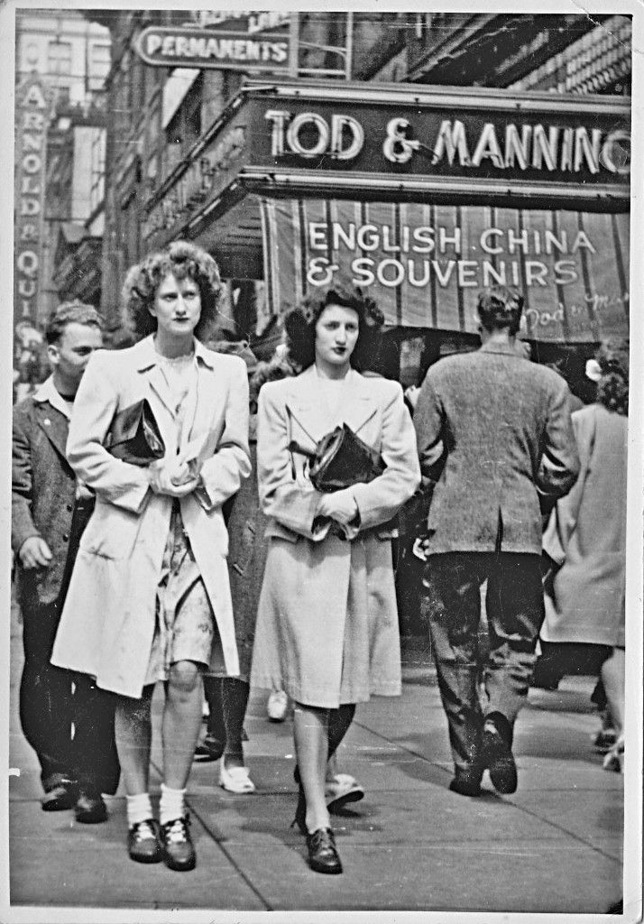 Street photo taken in Vancouver of two ladies identified as Joan and Norma, who both worked at C.N, telegraph on Hastings St. #vintage #1940s #Canada