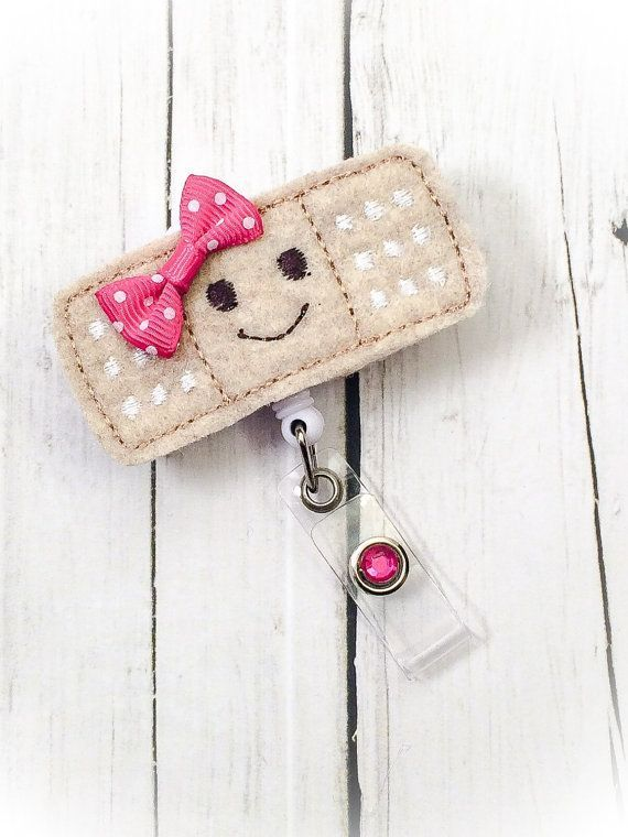 Cute Band-Aid w/ Happy Face Felt Name Badge by PrettieCuteBoutique