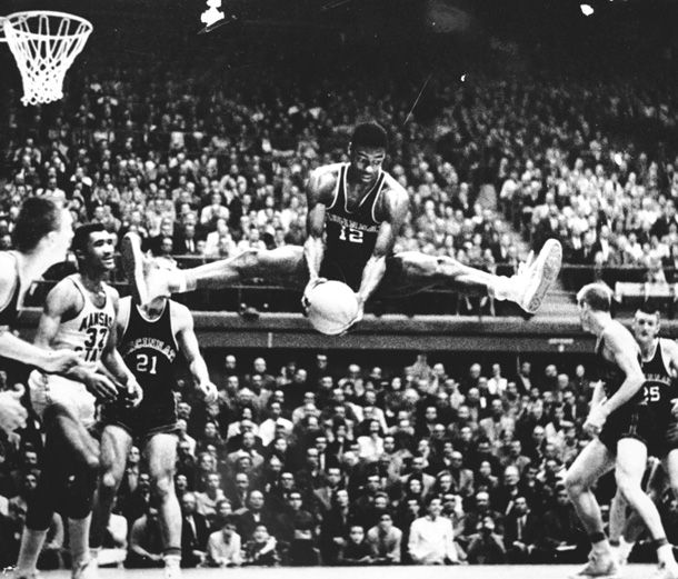 Best rebound photo ever? Oscar Robertson was ripped and had mad hops.