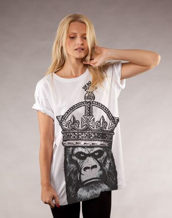 Kong Organic t-shirt design by by Paul Dickinson    I chose to place this in the Emphasis catagory due to the emphasis of the graphics, both the crown and the gorilla wearing it. Both are emphasised off the shirt from just using black vs white, as well as each possesses its own emphasis due to the illustrative style; the crown sharper and cleaner than the heavy shading on the ape's face, each standing out from each other.