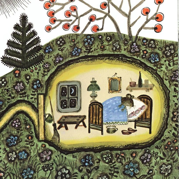 Yuri Vasnetsov - sweet little sleeping mouse in her underground house