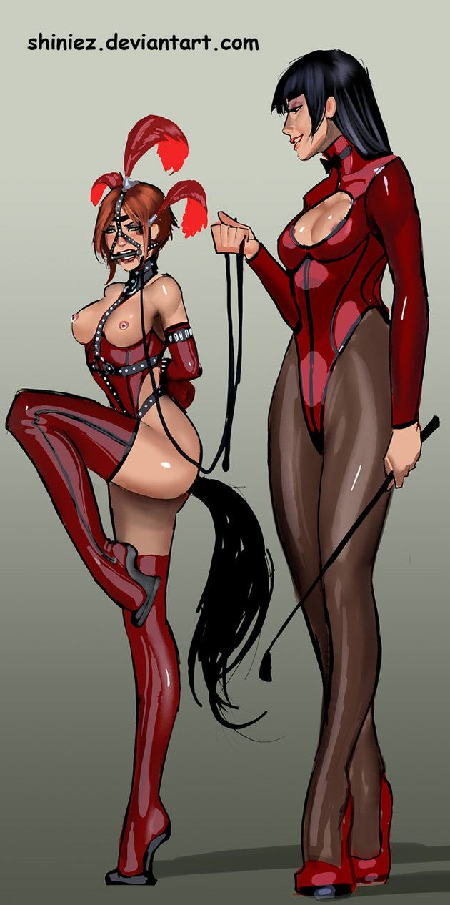 Deviant tied-up gagged drawings femdom