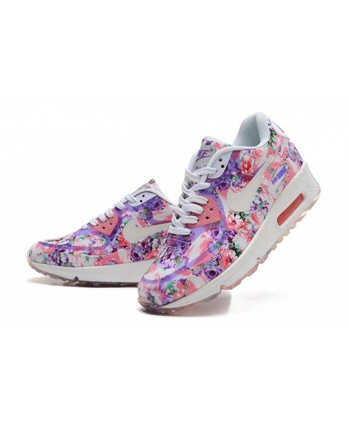 Nike Air Max 90 Floral Pink Purple White Womens Cheap UK