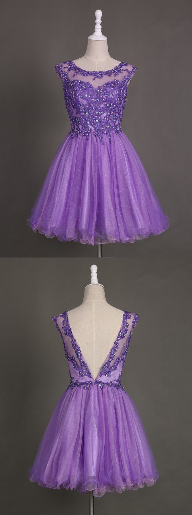Nectarean Bateau Neck Short Purple Homecoming Dress with Appliques Beaded Open…