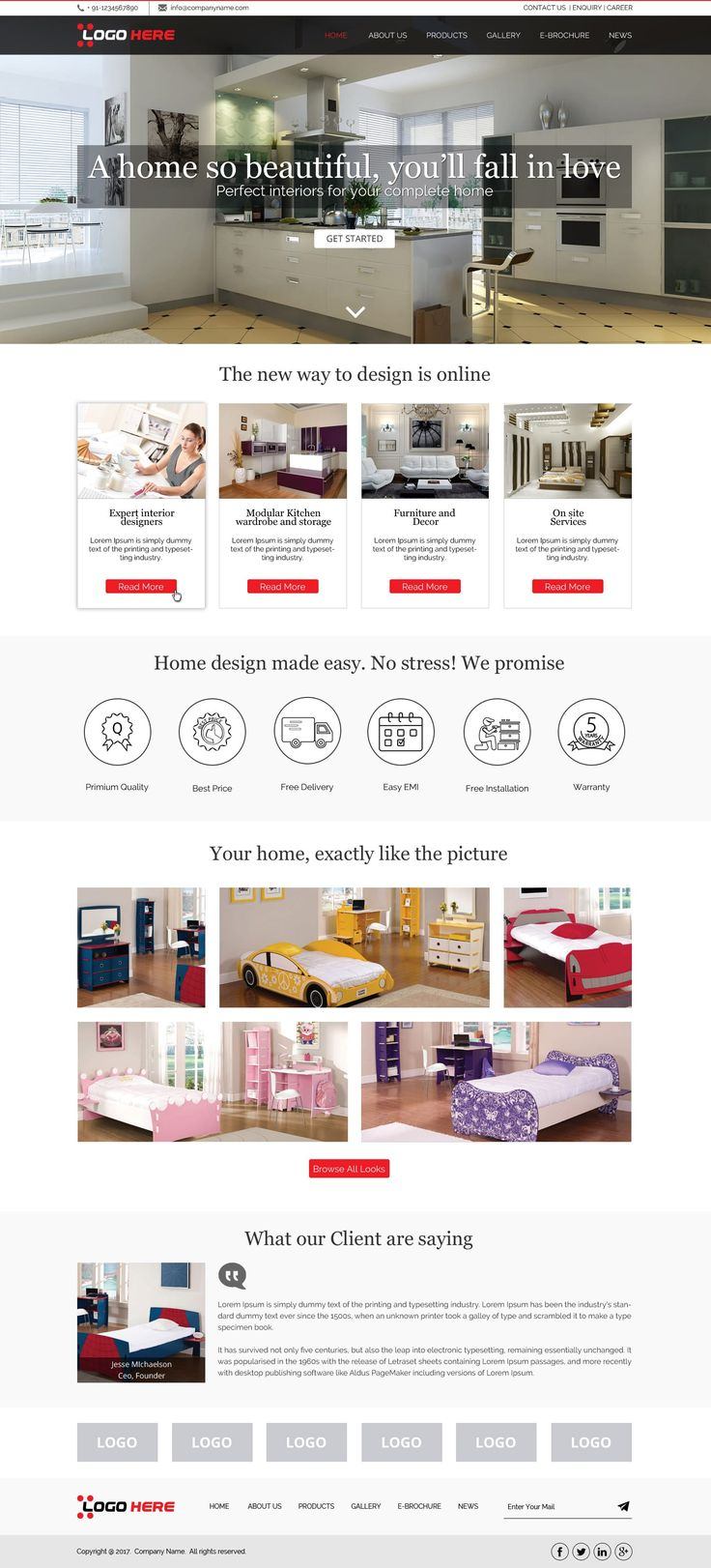 Interior Website Design Template Is A Clean And Modern Designed With Photoshop Released By Free PSD Exclusively For