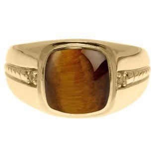 Cushion-Cut Tiger Eye Gemstone Diamond Men's Ring In Yellow Gold, Mens Gemstone Rings, Rings For Men, Mens Gemstone Jewelry, Mens Gold Ring
