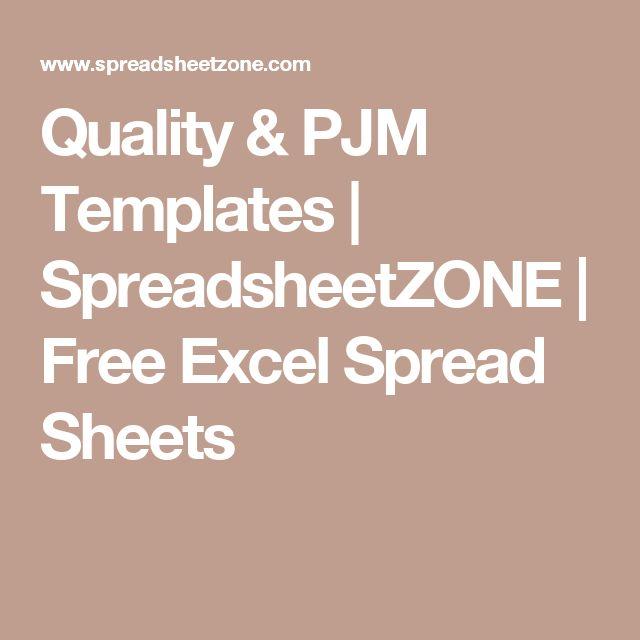 Quality  PJM Templates SpreadsheetZONE Free Excel Spread Sheets