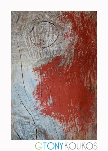 wood, paint, brushstokes, blue, red, dodecanese islands, greece, Tony Koukos, Koukos