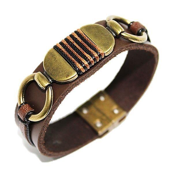 Bracelete de Couro Marrom Ouro Velho