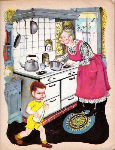 "The New Baby, Eloise Wilkin, 1948- Kitchen   	""The New Baby"", Little Golden Books, 1948By Ruth  Harold ShaneIllustrations by Eloise WilkinHelping Grandmother in the kitchen"