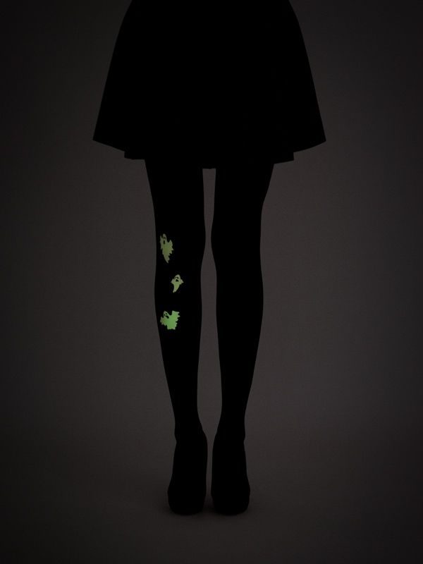 Super unique Glow-in-the-dark ghosts tights! 40 denier, semi-opaque, soft touch microfibre tights. Check 'Color and Material' section in FAQ for more information.