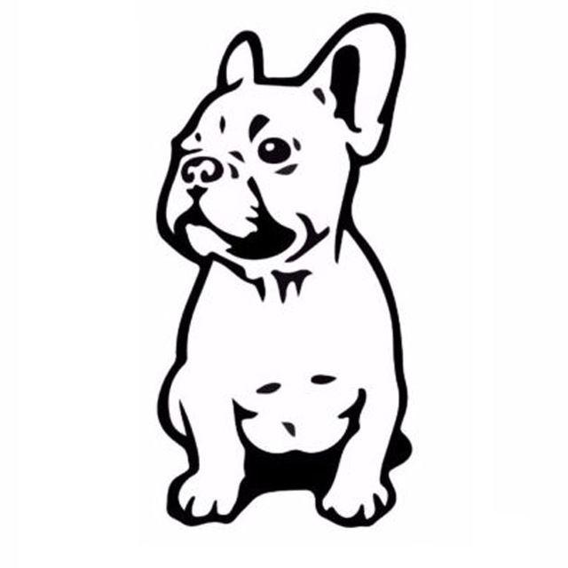 7.5*15.2 CM BOULEDOGUE FRANÇAIS Chien Pet Race de Décalque de Vinyle Drôle Animal Autocollant De Voiture Noir/Argent C6-1350