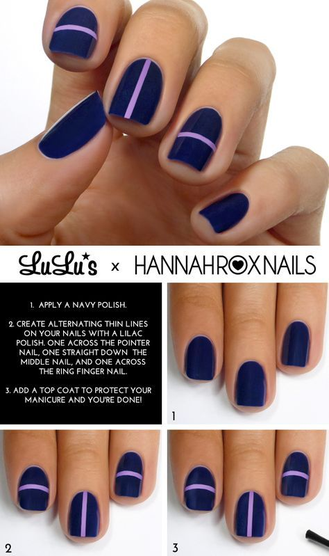 Mani Monday: Navy Blue and Lilac Striped Mani Tutorial - Lulus.com Fashion Blog