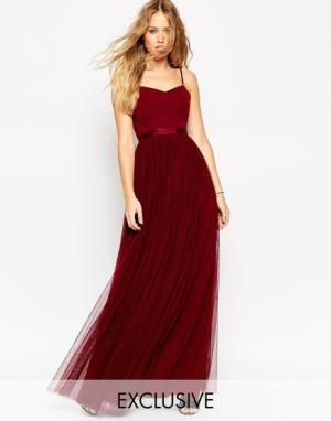 Needle & Thread Giselle Ballet Maxi Dress With Tulle Skirt - Burgundy