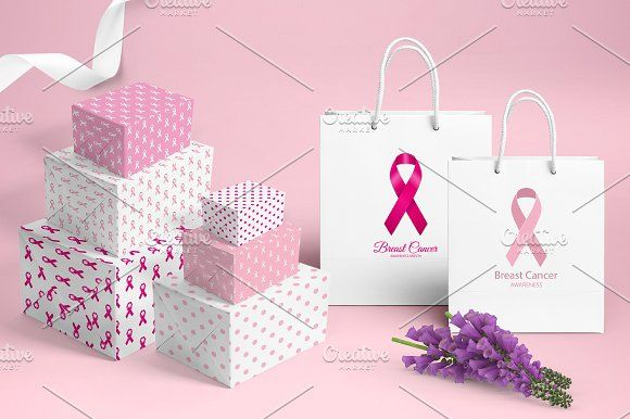 Breast Cancer Set by Nadezda Gudeleva on @creativemarket