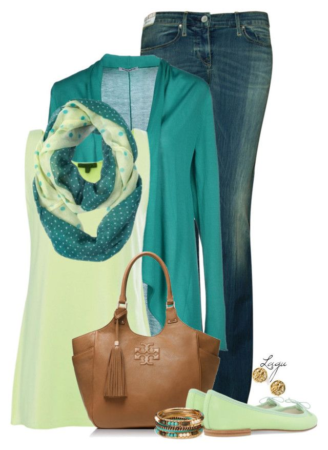 """""""Spring Green"""" by lagu ❤ liked on Polyvore featuring Levi's Made & Crafted, Kangra Cashmere, Oska, Tory Burch, Repetto, Forever 21 and Moschino"""