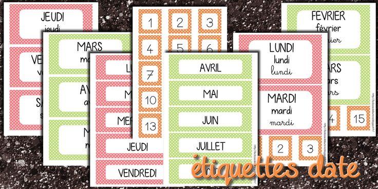 La maternelle de Laurène: Les étiquettes dates