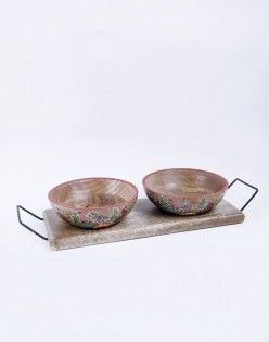 Painted Multicolor Ceramic Bowl Set Of 2 With Tray