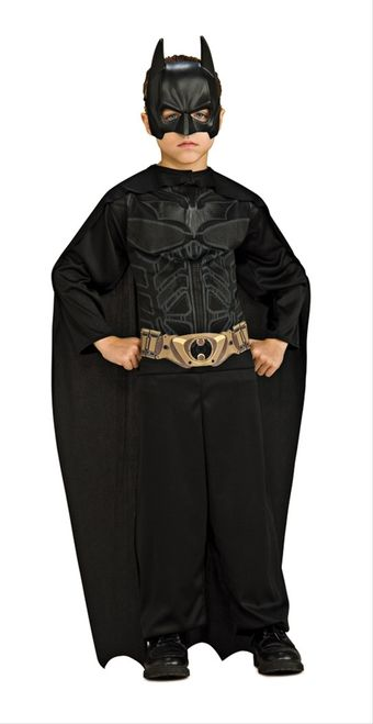 Dark Knight Boys Batman Costume - This is a DC Comics Batman costume. There are many different styles to choose from when it comes to Batman's outfit; this one is from The Dark Knight. This is a three-piece costume with a bodysuit, mask, and cape. The bodysuit has Batman's chest piece and belt design printed on the torso. The suit opens up to be put on from the collar and fastens close with Velcro. #batman #superhero #yyc #costume #calgary #children