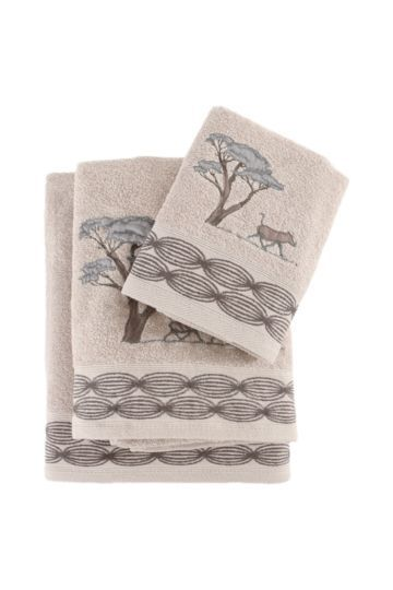 Embroidered Acacia Tree Border Towel