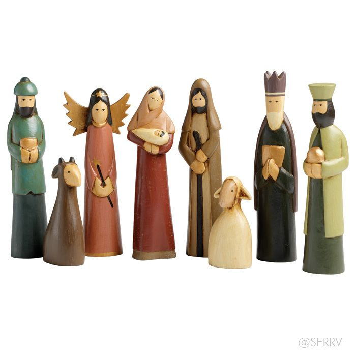Hand carved from Alstonia, a tropical evergreen tree native to Indonesia, this contemporary nativity features eight figures, simply ornamented and painted in muted tones. A SERRV exclusive. tallest figure: 7in.