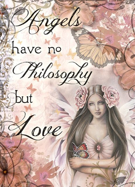 """Angels have no philosophy but love... Designed By Jessica Galbreth. All cards blank inside for the sender's own message. Approximate Size: 5"""" x7"""""""