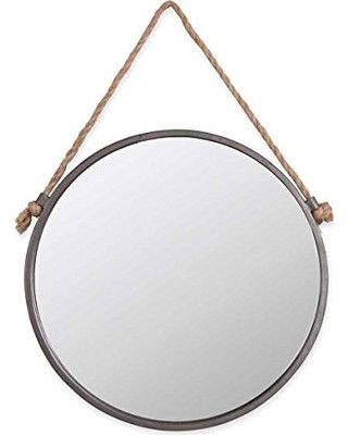 This salvaged style medium rope & circle mirror will be a unique addition to your home decor, whether it's hung above your bathroom sink or in your entryway. Its galvanized rim and rustic rope hanger