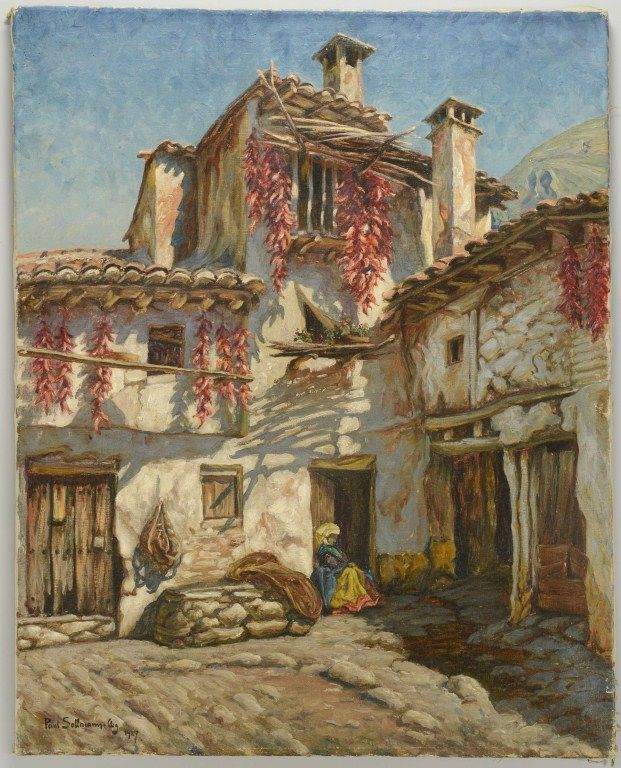 Lot 3088251: Paul Sollmann, Oil on Canvas, Spanish Courtyard | Case Antiques