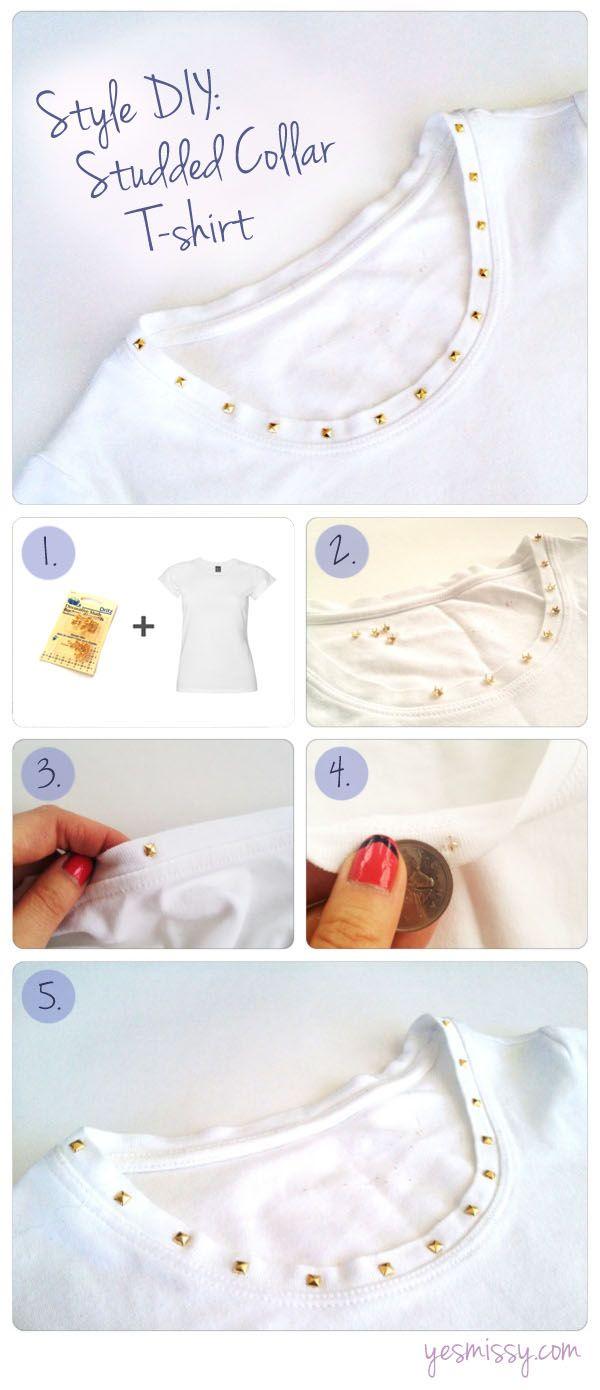 Estilo DIY: T-shirt Tachas Colarinho Branco