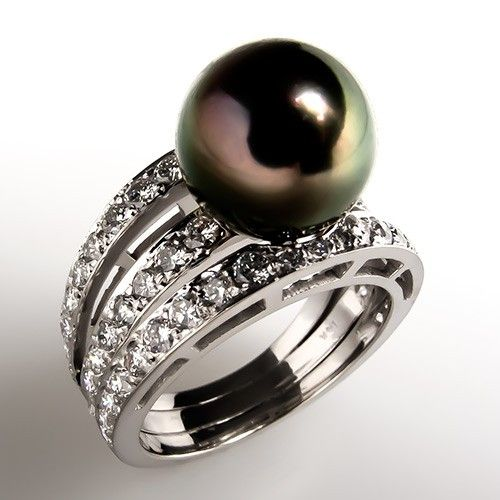 Tahitian Pearl & Diamond Triple Split Shank Cocktail Ring 18K White Gold