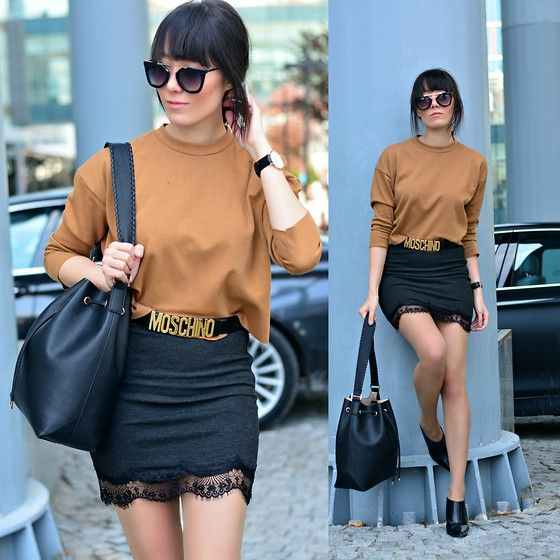 Get this look: http://lb.nu/look/7319348  More looks by Paris Sue: http://lb.nu/jadorefashionn  Items in this look:  Choies Sunnies, H&M Bag, Sante Booties, Moschino Belt, Choies Top   #chic #classic #street
