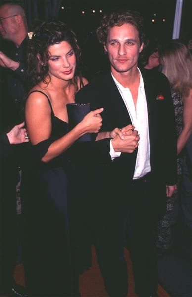 """Matthew McConaughey and Sandra Bullock: Co-stars in the 1996 flick """"A Time to Kill,"""" Matthew McConaughey and Sandra Bullock were very quiet about their romance, with Bullock always claiming they were friends. After the fact, she admitted that calling them just friends would be a lie."""