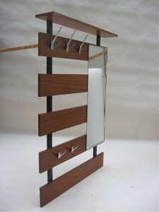 Mid century modern hallway coat rack mirror shelf