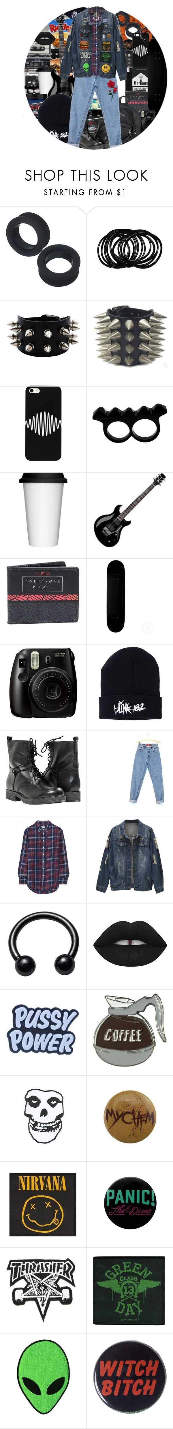 """G R U N G E"" by chemicalfallout249 ❤ liked on Polyvore featuring Manic Panic NYC, Junk Food Clothing, CASSETTE, L'Artisan Créateur, Sagaform, Floyd, Hot Topic, Fujifilm, Paolo Shoes and Levi's"