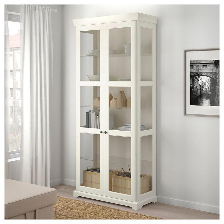 Ikea Liatorp Glass Door Cabinet White Armoire Avec Portes Vitrees Meubles De Rangement Idees Etageres