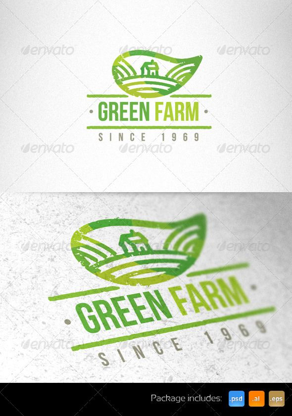 Green Farm Organic Creative Logo Template — Photoshop PSD #vegetarian #modern • Available here → https://graphicriver.net/item/green-farm-organic-creative-logo-template-/1980786?ref=pxcr