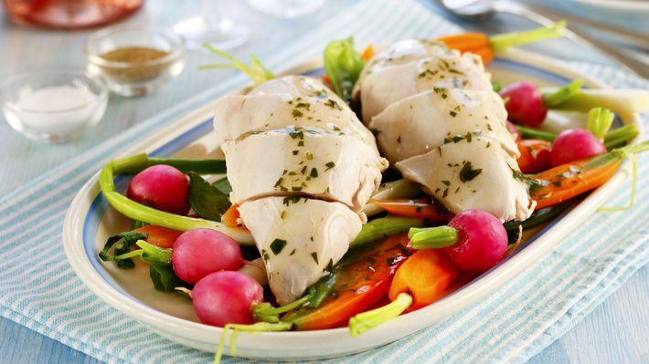 MatPrat - Posjert kyllingfilet med sprø sommergrønnsaker og urtesaus