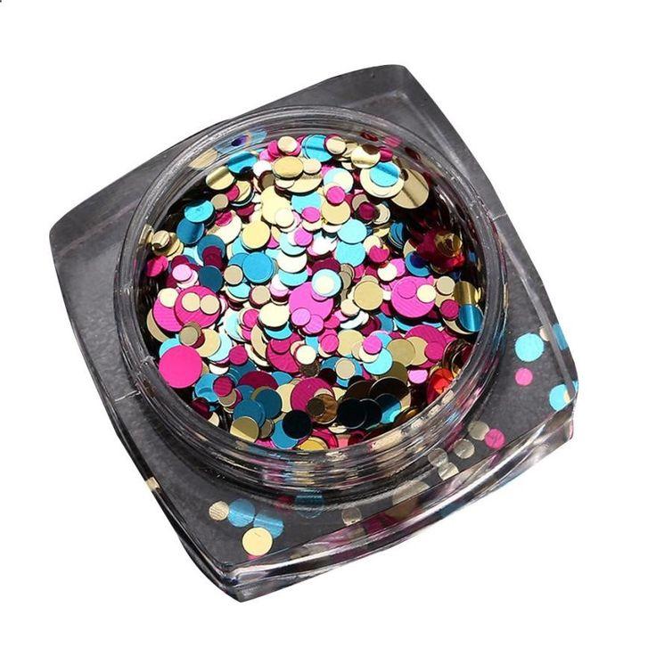 En plastique 1.5g Chaude Mode Mixte Mini Ronde Mince Nail Art Glitter Paillette Nail Pointe Bouteille Gel Polonais Décoration Manucure outils