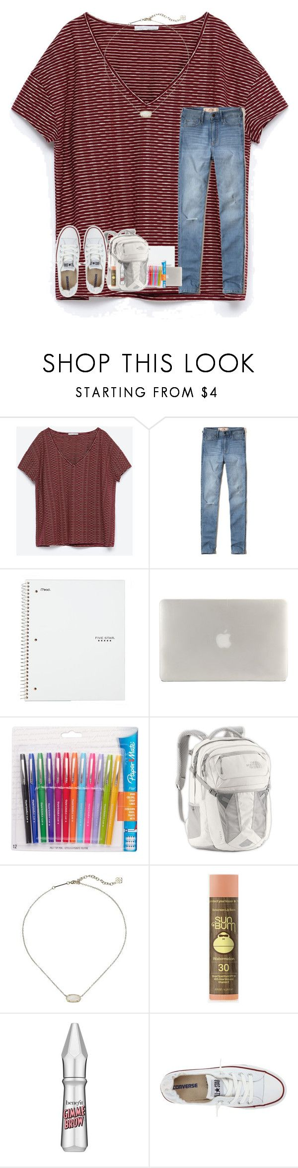 """""""qotd in d"""" by rileykleiin ❤ liked on Polyvore featuring Zara, Hollister Co., Five Star, Tucano, Paper Mate, The North Face, Kendra Scott, Sun Bum, Benefit and Converse"""