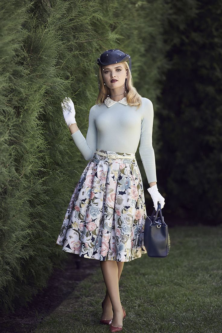 The Abigail Jumper, Royal Garden Skirt, & Sage Bag