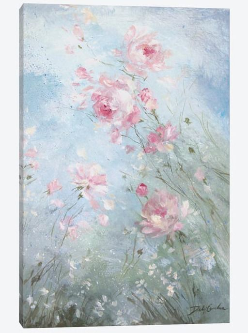 Where to find French farmhouse artwork. Debi Coules romantic paintings and art featured on Shabbyfufu Blog.