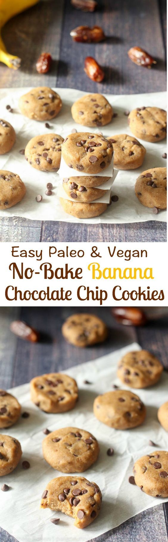 Easy Paleo and vegan no bake banana chocolate chip cookies, naturally sweetened with dates with cashew butter and coconut flour for the perfect cookie dough texture!