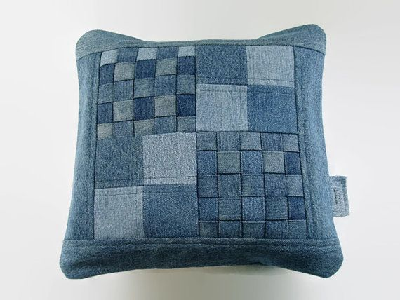Denim Pillow Cover, 14 x 14 Decorative Pillow Cover, Upcycled Recycled Repurposed Denim, Woven Patchwork Jean Pillow Cover, Accent Pillow