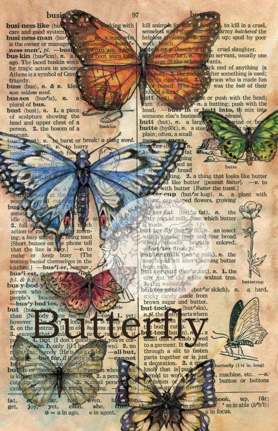 Druck: Schmetterlinge gemischt Medien zeichnen auf notleidende Pergament