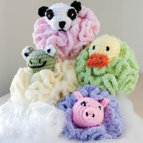 Kid's Critter Bath Sponges Crochet Pattern