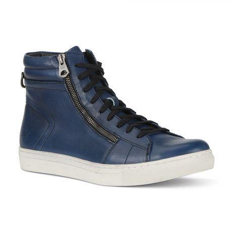 Andrew Marc: Remsen High Top Sneaker in Navy