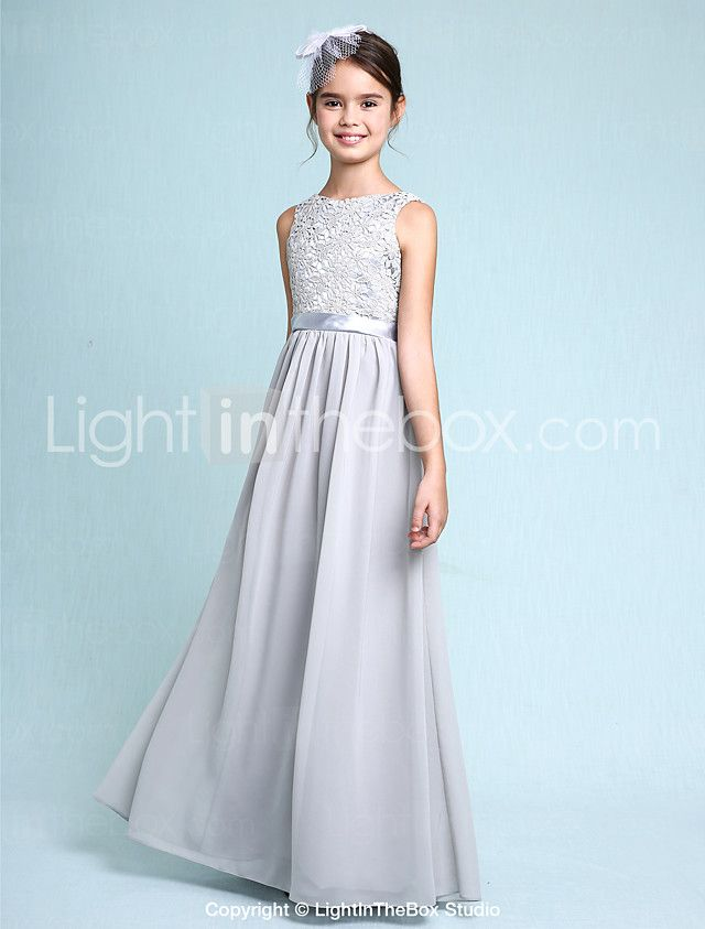 Lanting Bride® Floor-length Chiffon / Lace Junior Bridesmaid Dress Sheath / Column Bateau with Lace 2016 - $79.99