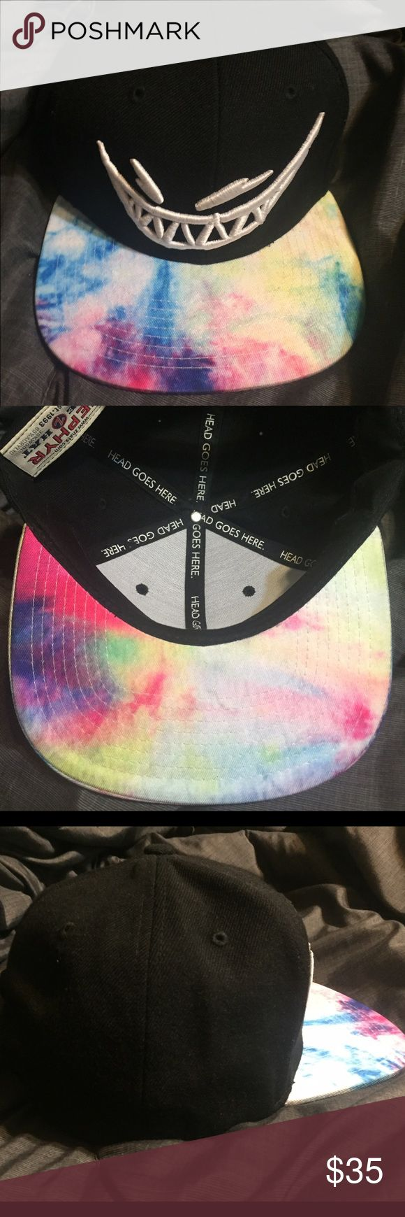 """Limited Edition """"Feed Me"""" snapback Limited Edition """"Feed Me"""" Snapback. Official """"Psychedelic Journey"""" tour merchandise. 3D embroidered white logo on the front. Tie-dye bill on an all black snapback hat. Never worn Accessories Hats"""