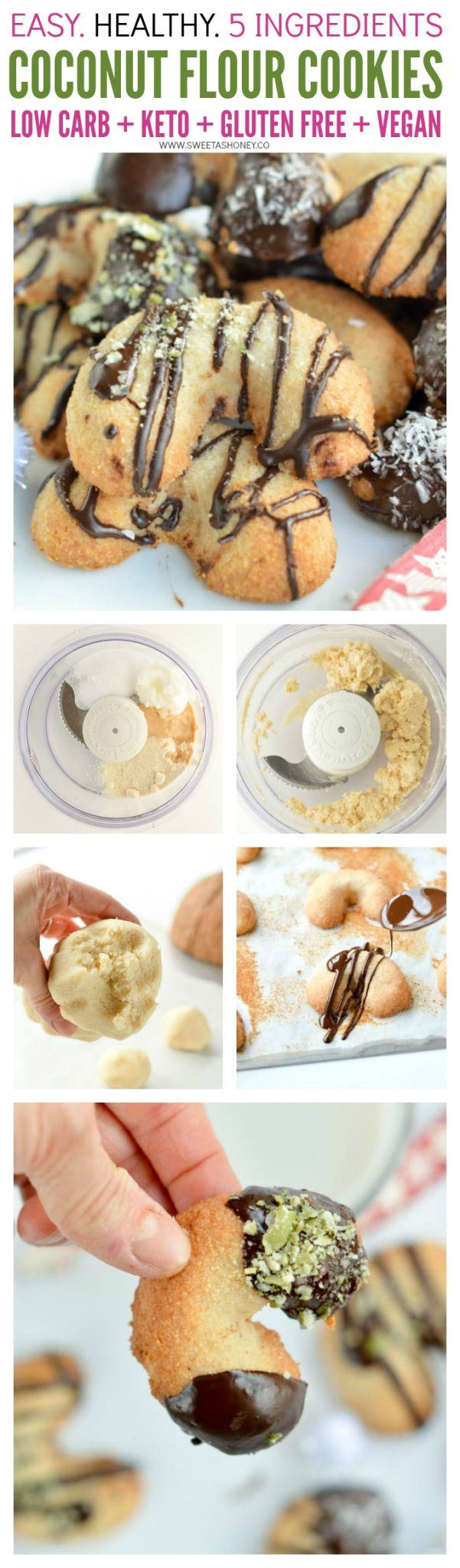 Coconut Flour Cookies no Sugar. Don't blow your diet this Christmas! Whatever you eat keto, low carb, paleo or vegan those coconut flour cookies no sugar (yes, they are 100% sugar free ) are the healthy Christmas cookies you need to makes everyone happy. You won't miss your classic shortbread cookies, those have the exact same texture - they melt in your mouth with a heavenly buttery vanilla flavor - without the carbs, butter or sugar.